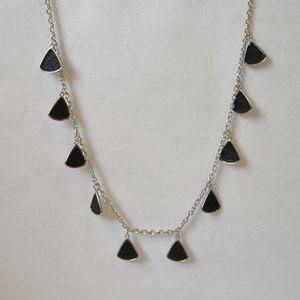 Black Triangle Drop Long Necklace Silver Metal